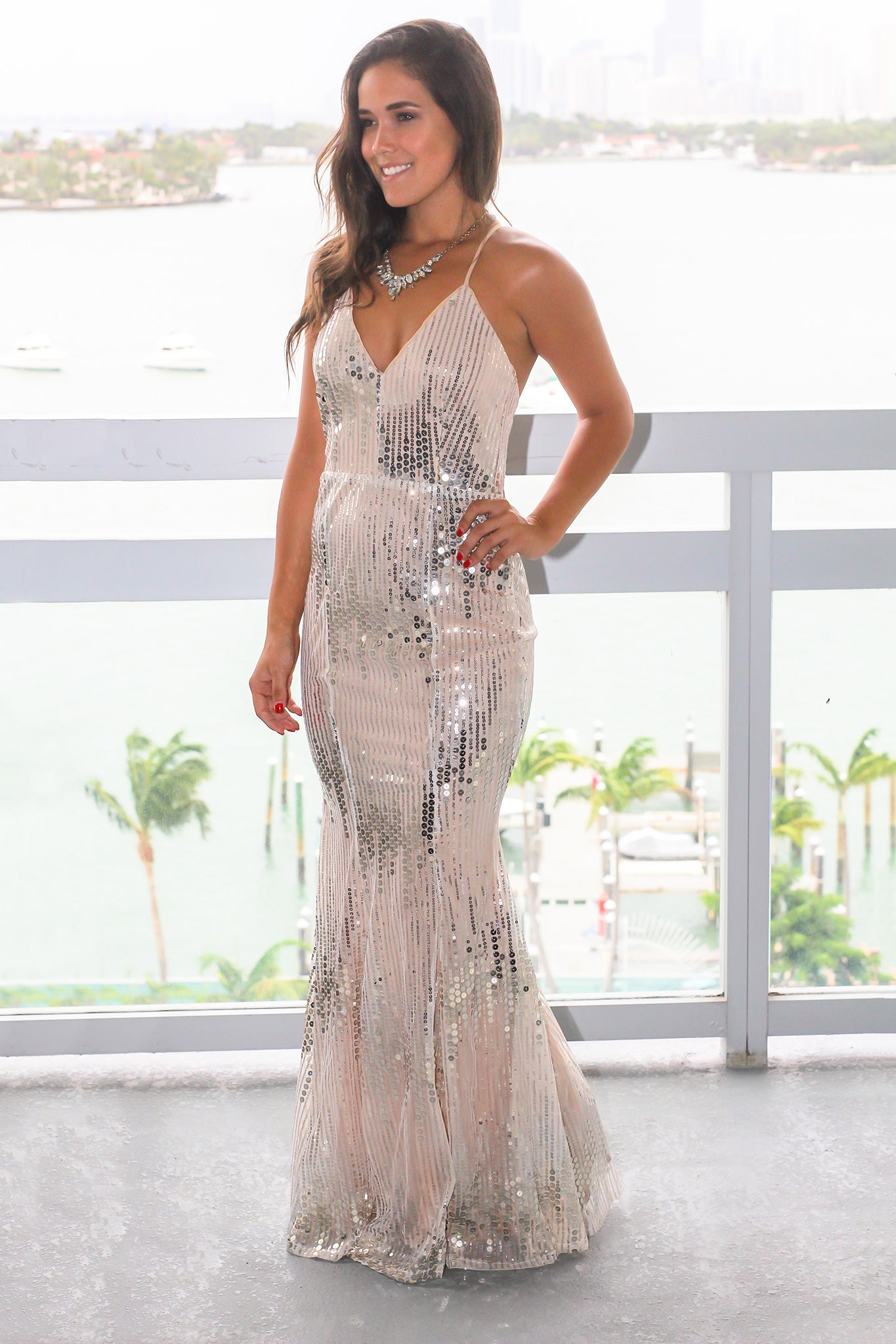 Nude Maxi Dress with Silver and Gold Detail