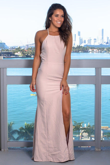 Nude Maxi Dress with Strappy Back and Pearl Detail