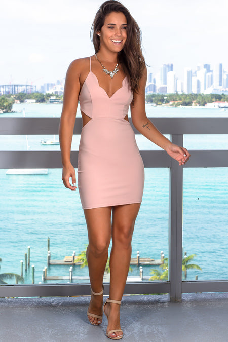 Nude Rose Cut Out Short Dress with Scalloped Neck