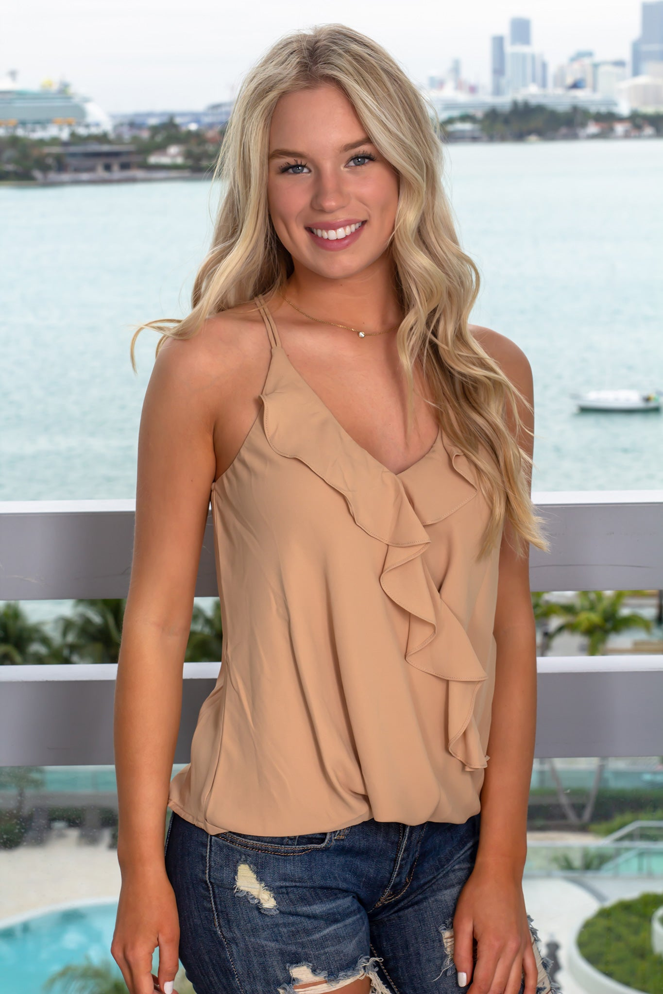 Nude Top with Ruffles