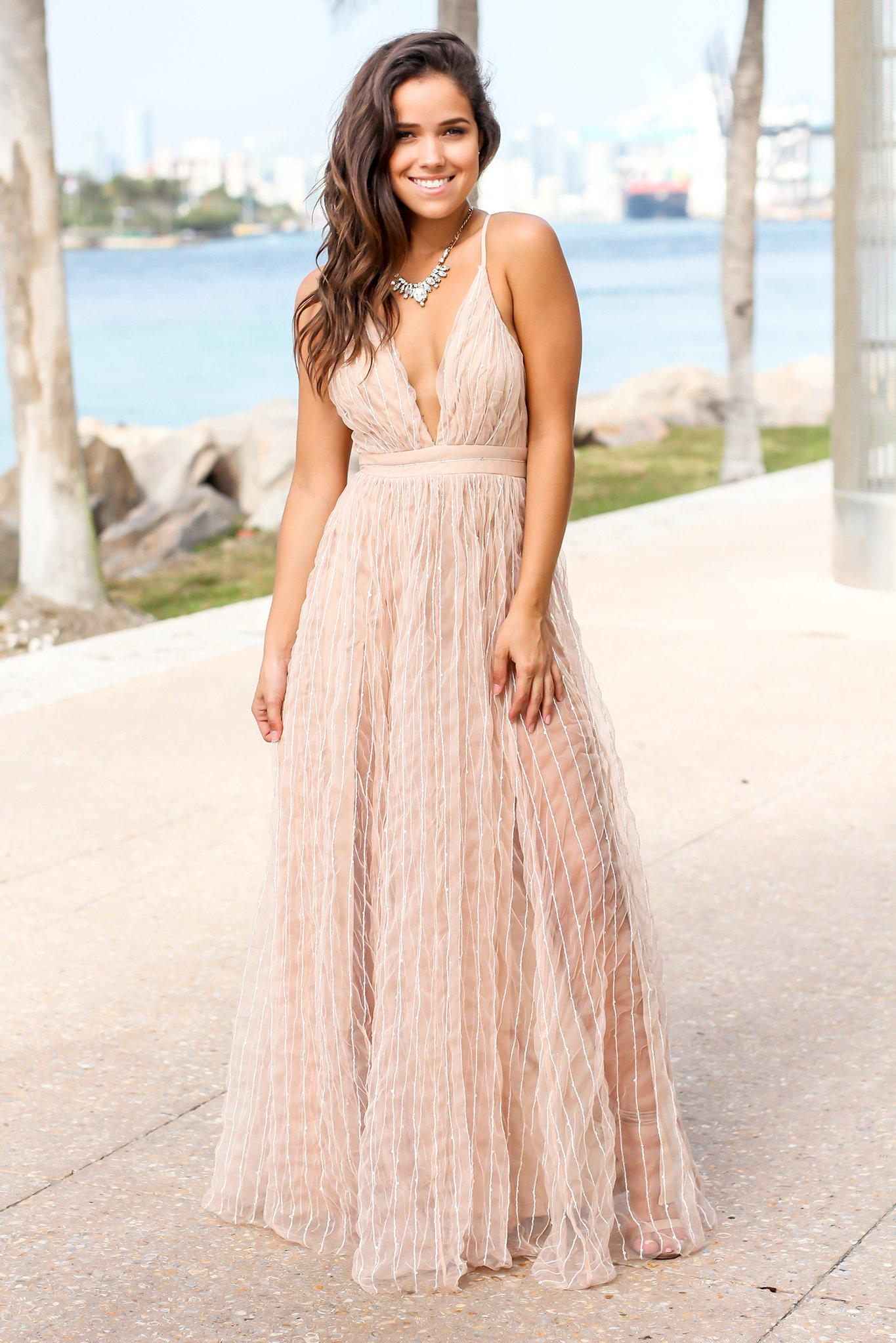 Nude Tulle Maxi Dress with Criss Cross Back