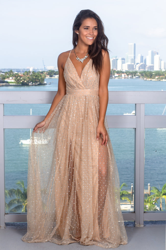 Nude Tulle Maxi Dress with Silver Detail