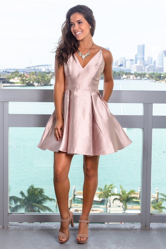 Nude V-Neck Short Dress with Pockets