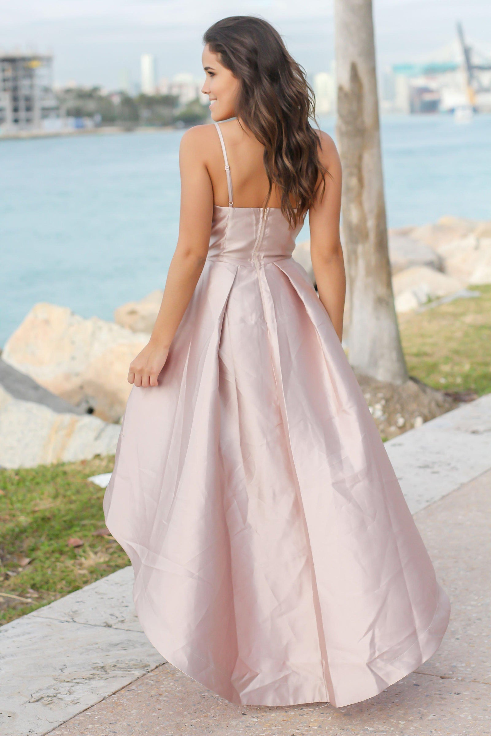 Nude and Coral High Low Dress