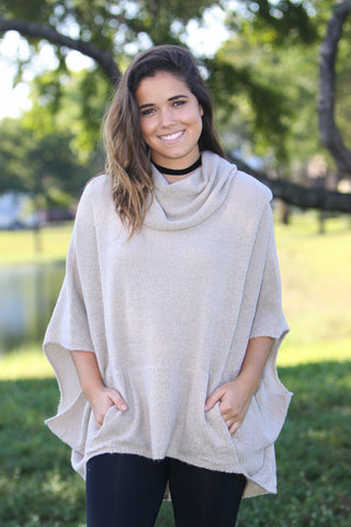 Oatmeal Poncho Cowl Neck Sweater