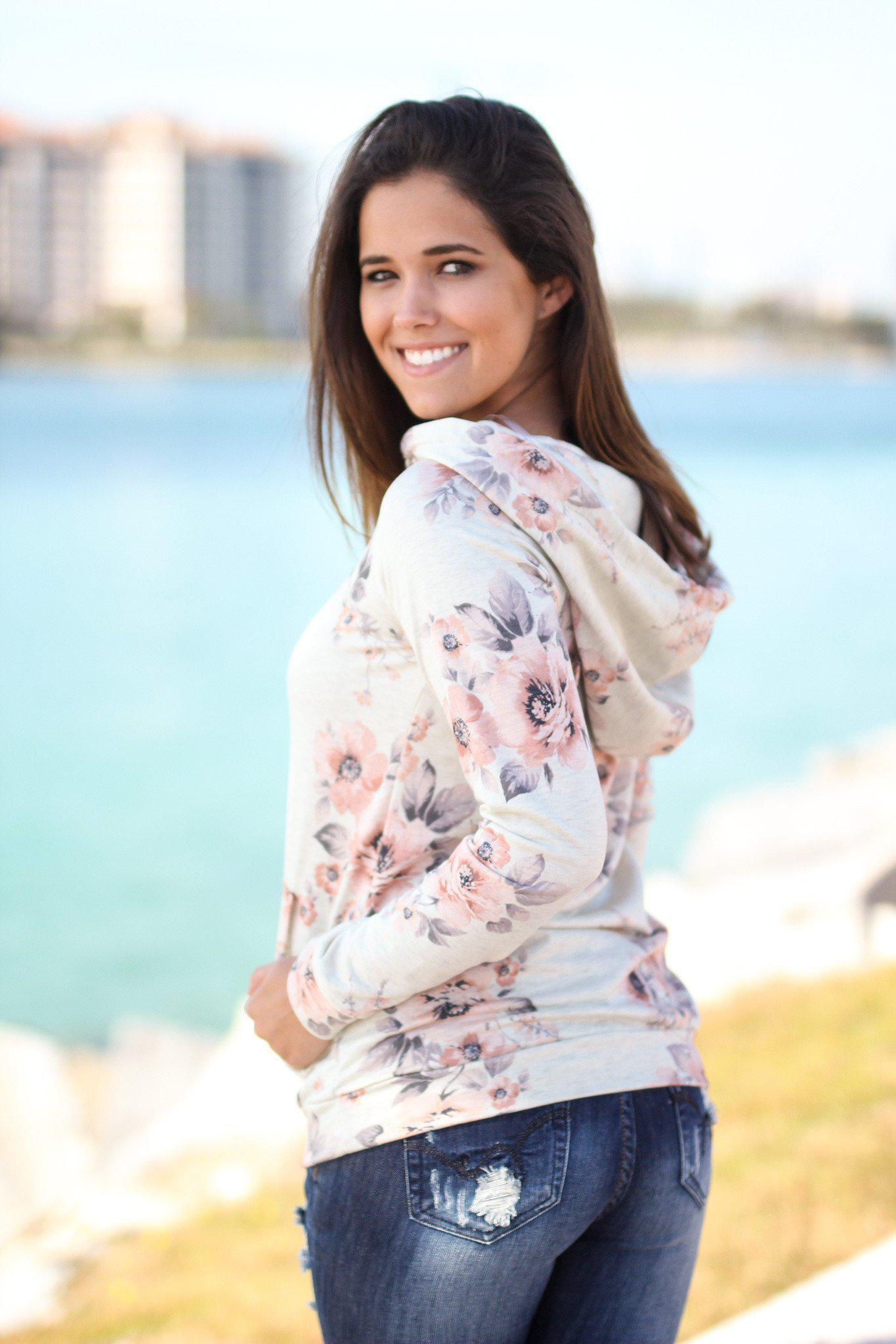 Oatmeal Floral Hoodie with Pockets