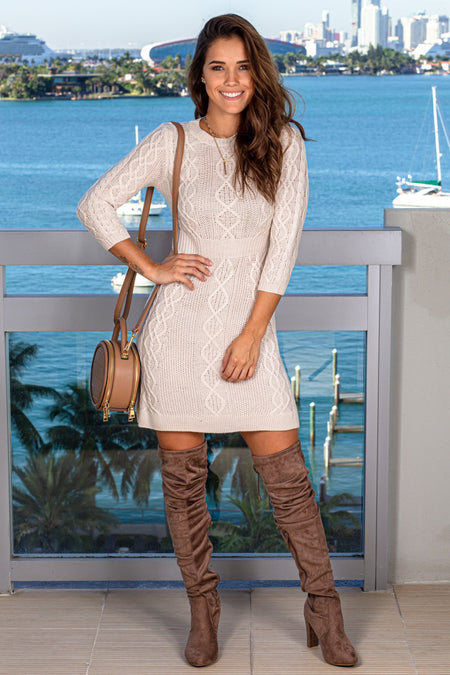 Oatmeal Knit Short Dress