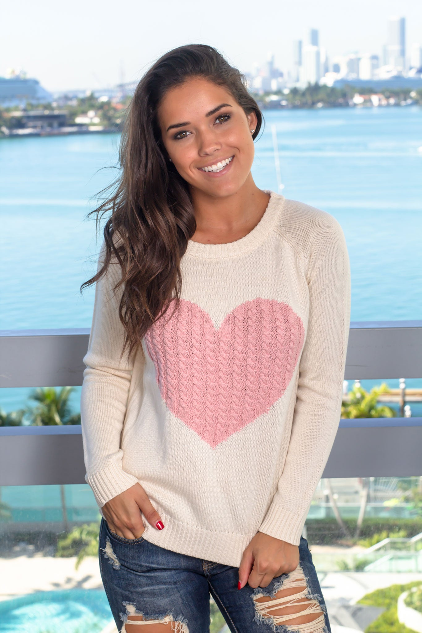 Oatmeal Knit Sweater with Heart Detail
