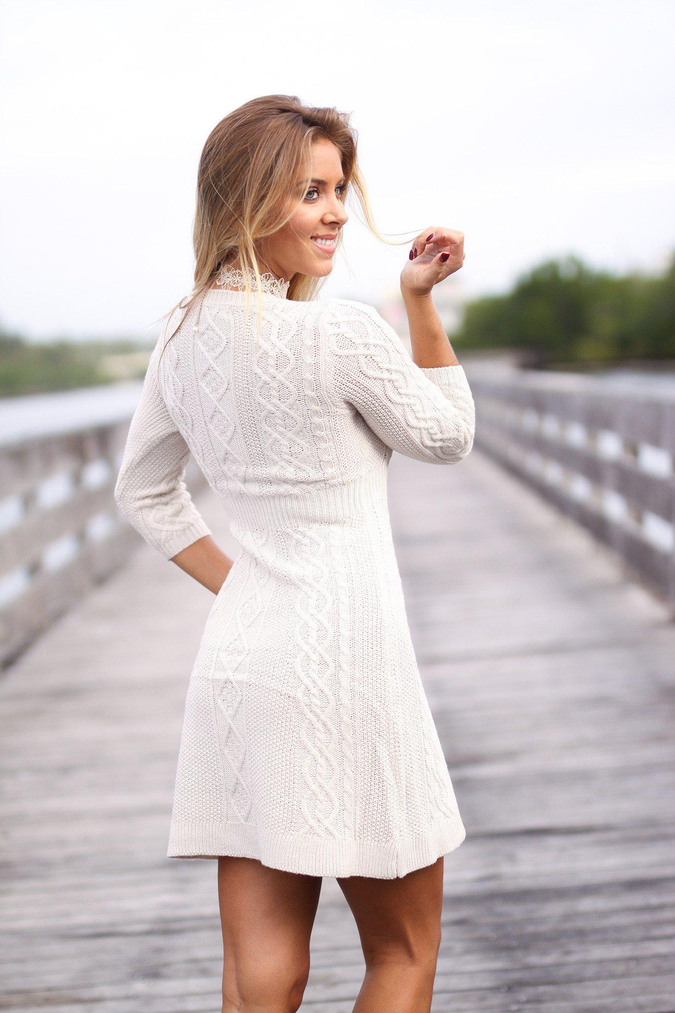 063dce63814 Oatmeal Knitted Sweater Dress