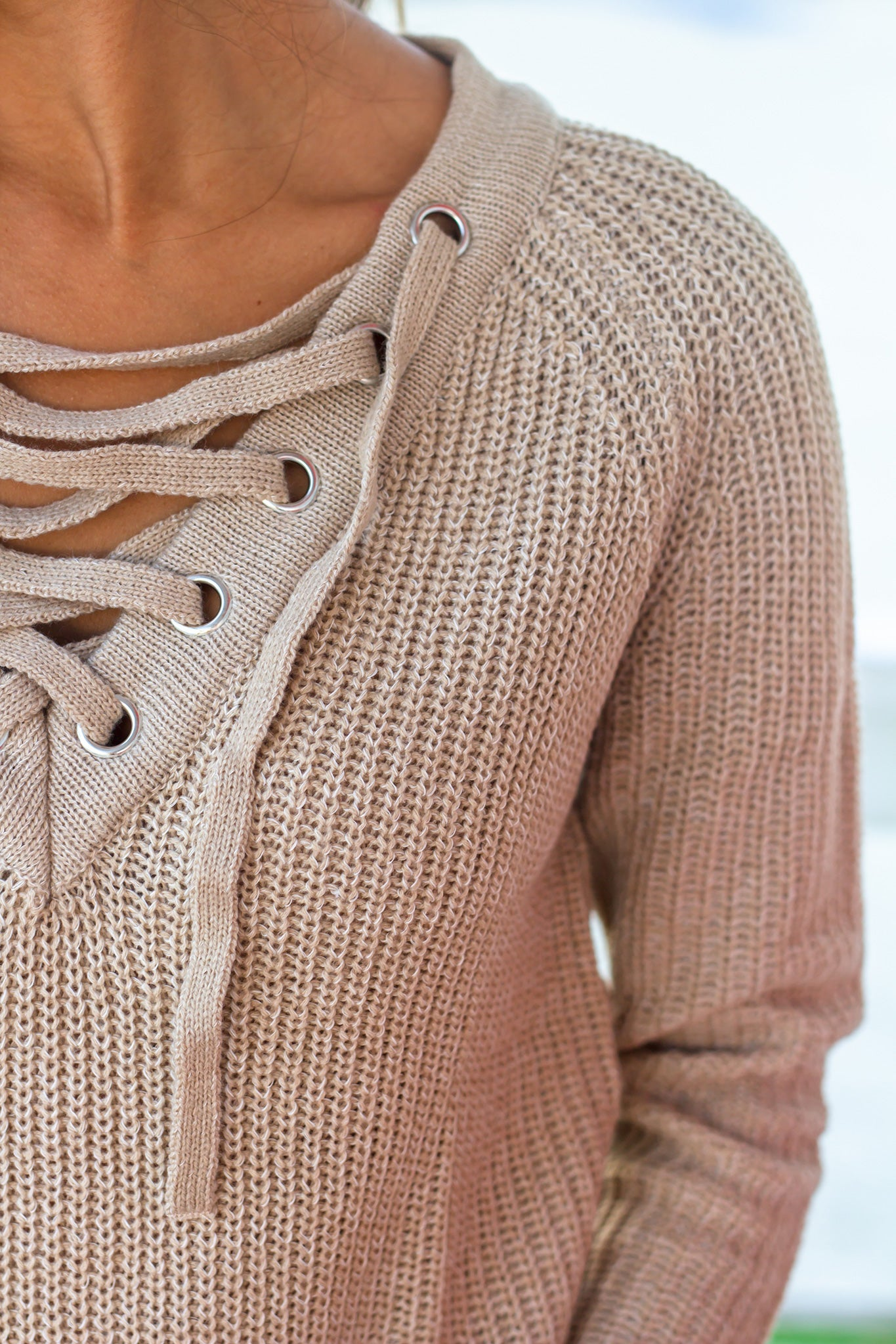 Oatmeal Lace Up Knit Sweater