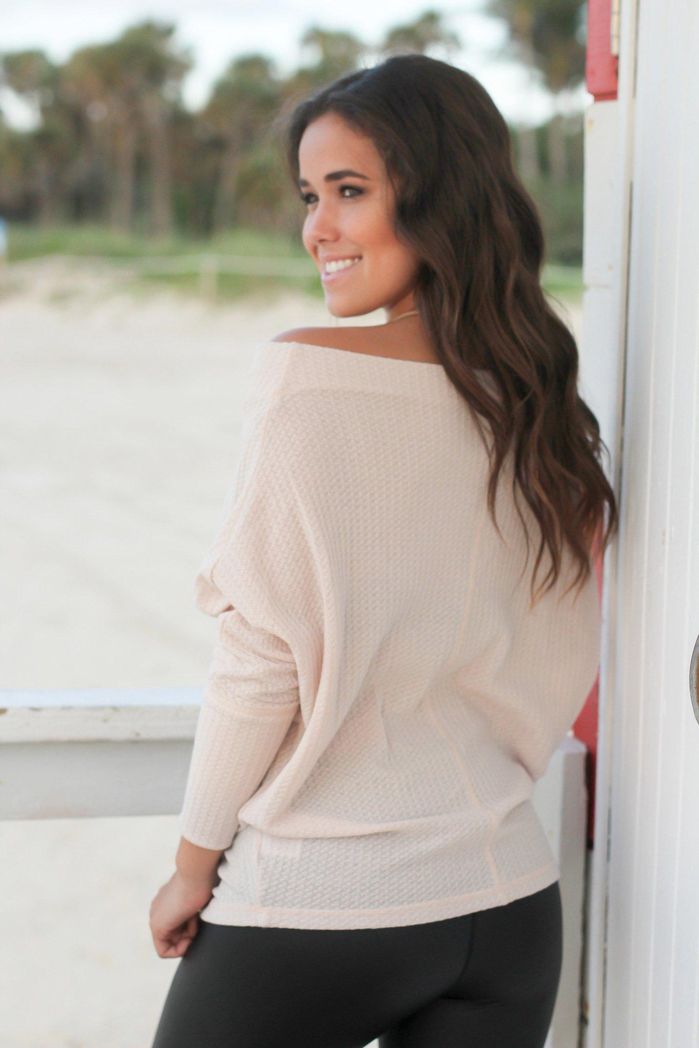 Oatmeal Off Shoulder Knit Top