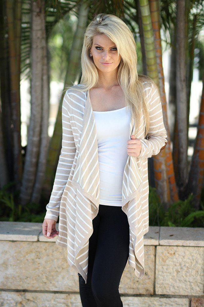 oatmeal striped cardigan with elbow patches