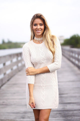 Oatmeal Knitted Sweater Dress