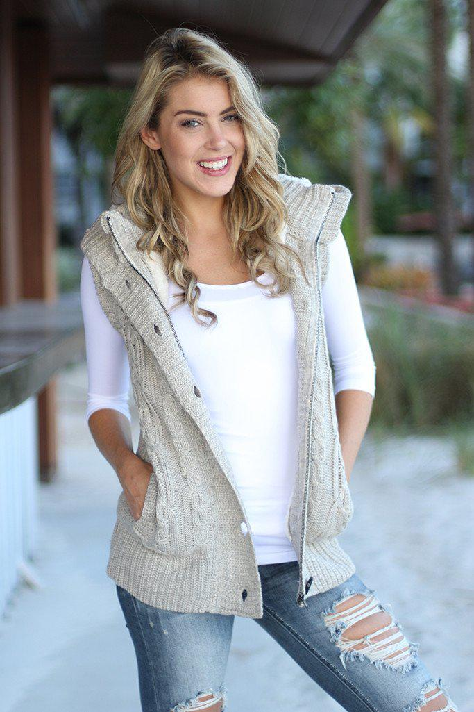 Khaki Fur Sweater Vest With Hood