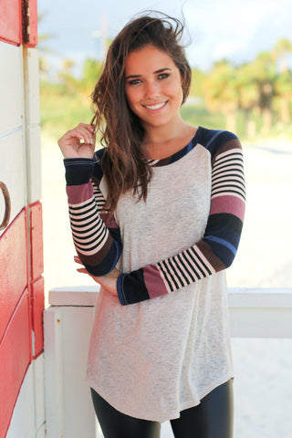 Oatmeal Top with Purple and Blue Striped Sleeves