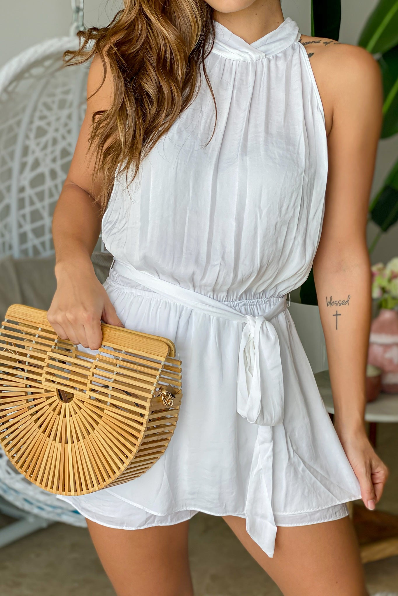 off white halter neck romper with tie waist