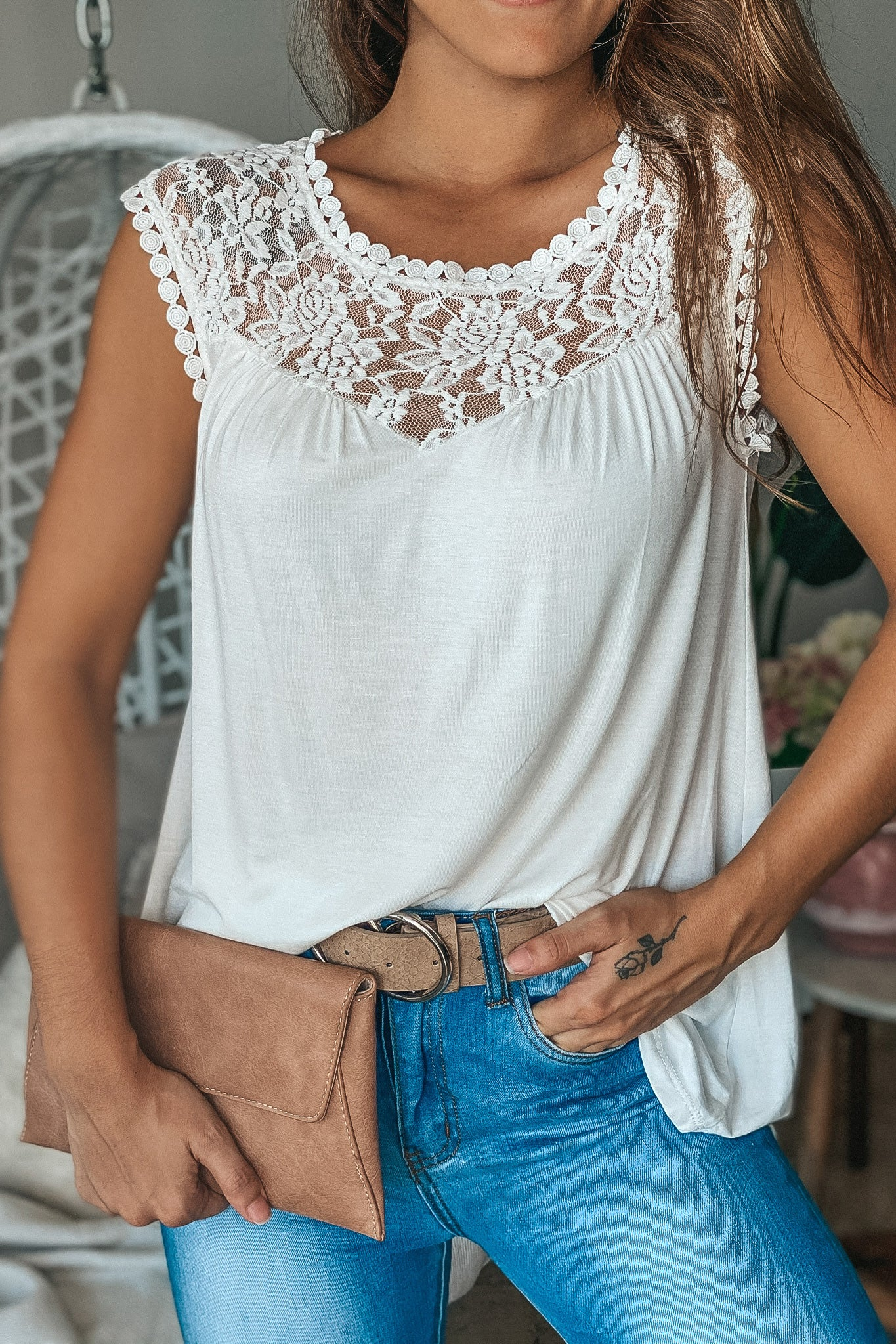Off White Sleeveless Top with Lace Detail