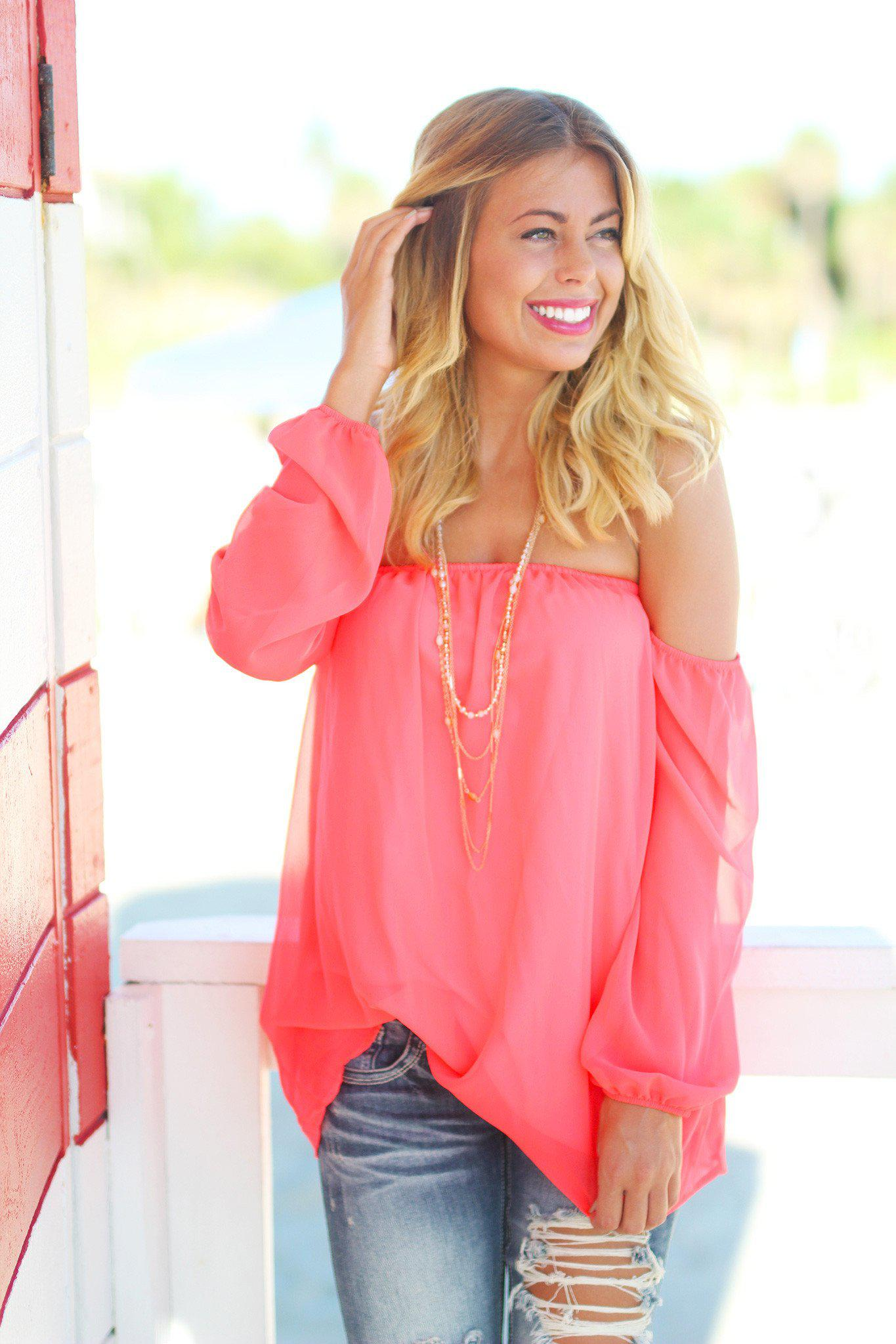 Neon Coral Off Shoulder Long Sleeve Top