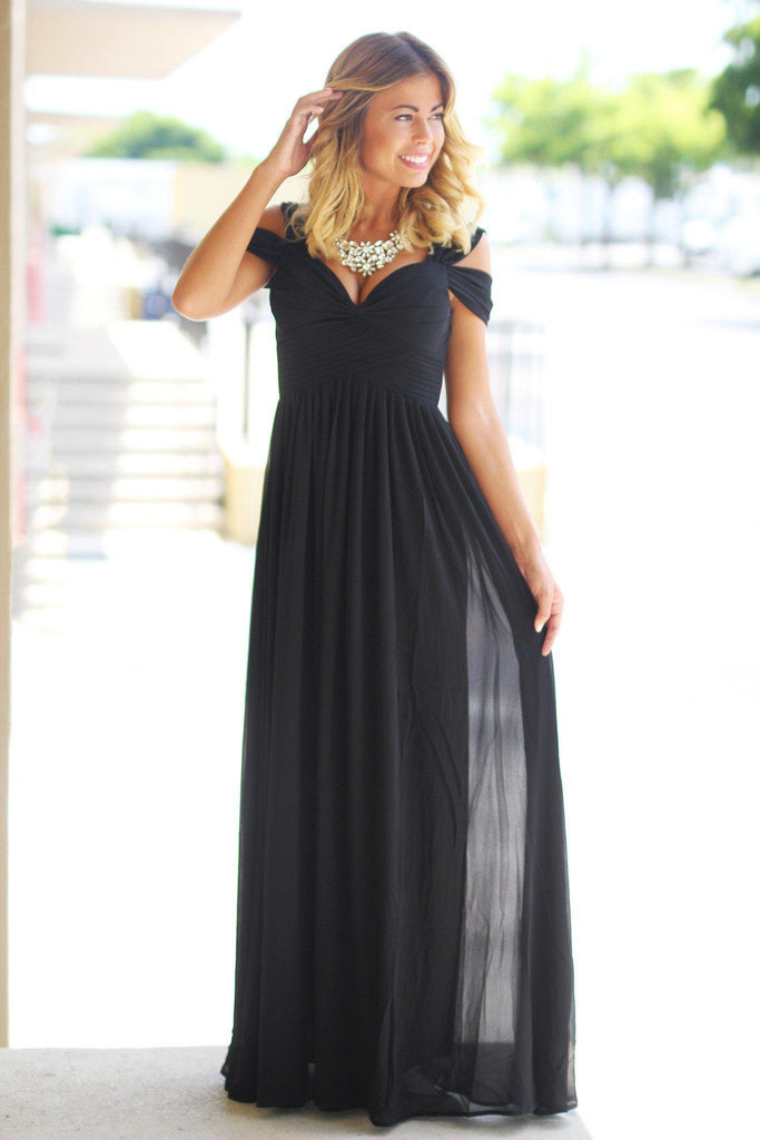 Black Off Shoulder Maxi Dress