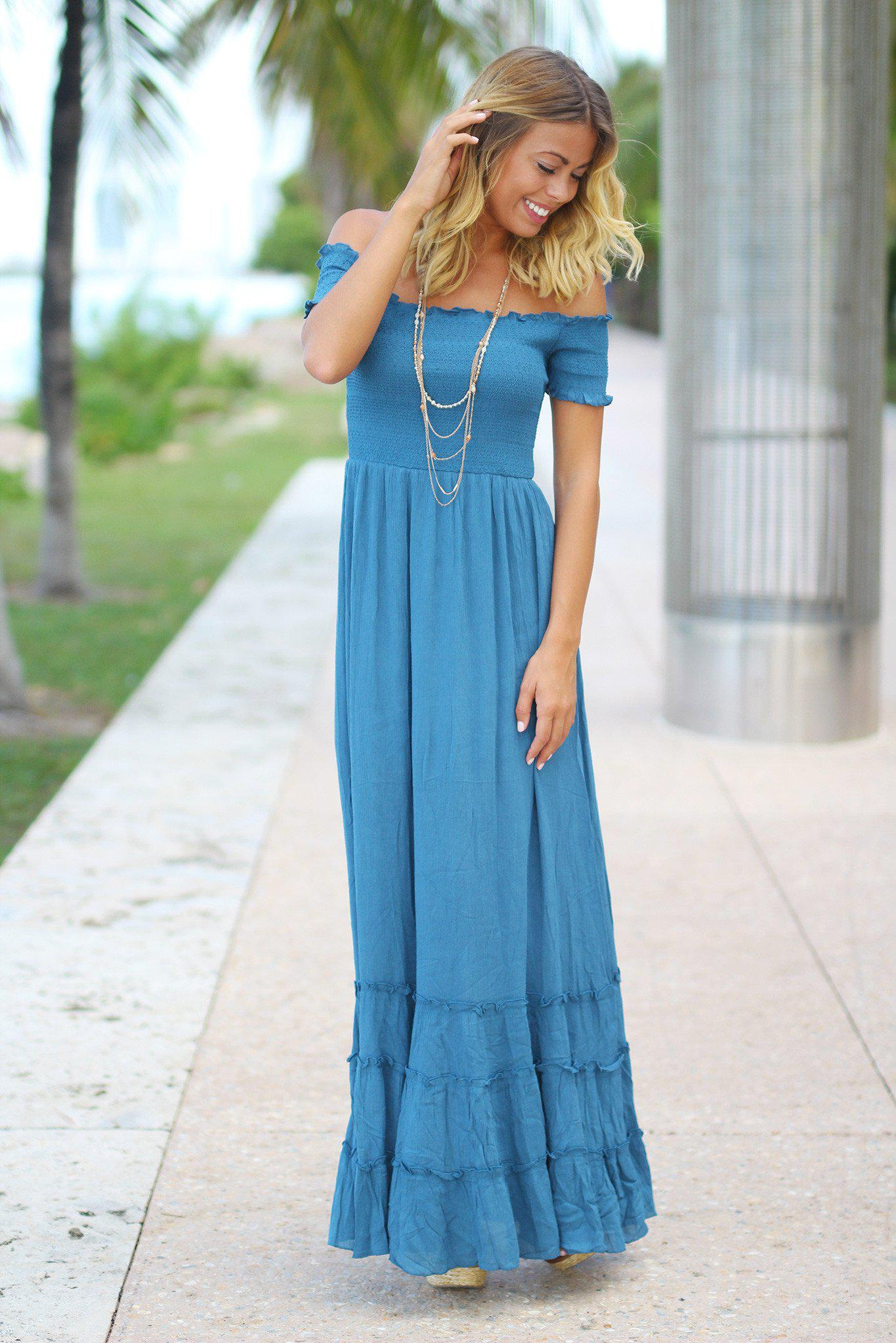 Blue Off Shoulder Maxi Dress