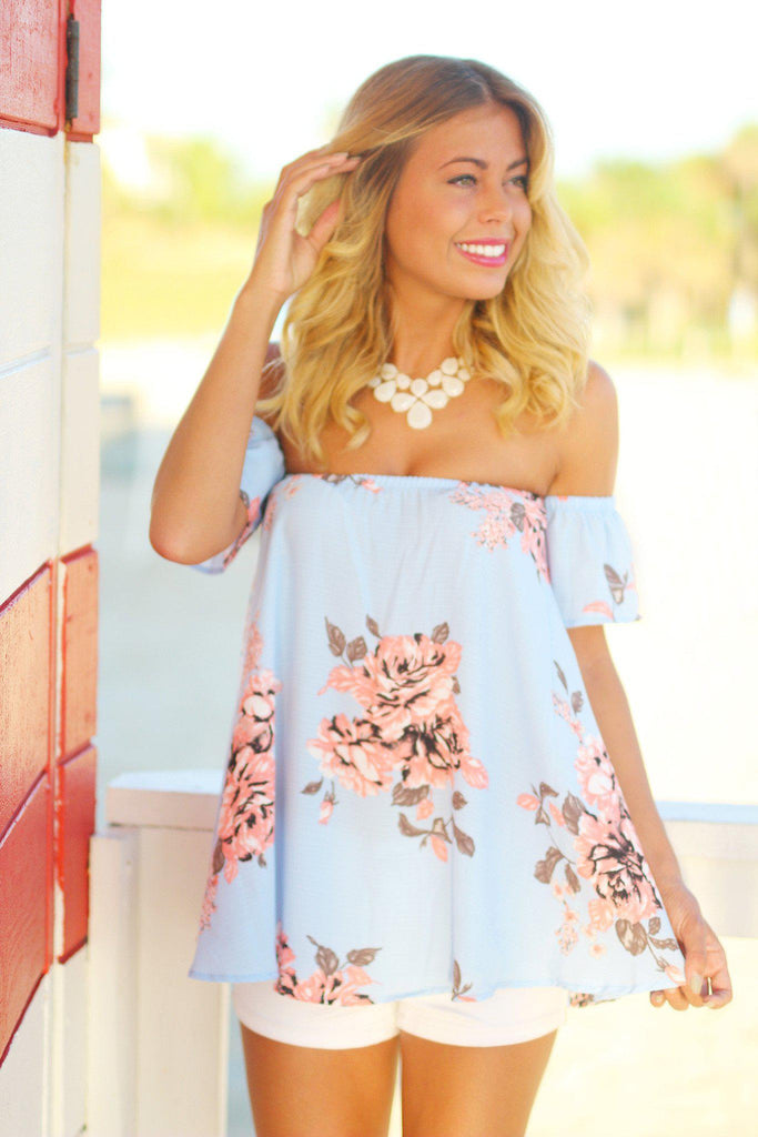 off shoulder periwinkle top