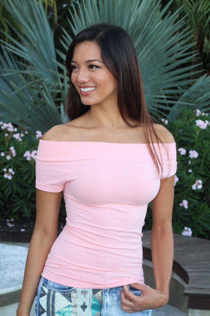 Pink Off Shoulder Stretch Top