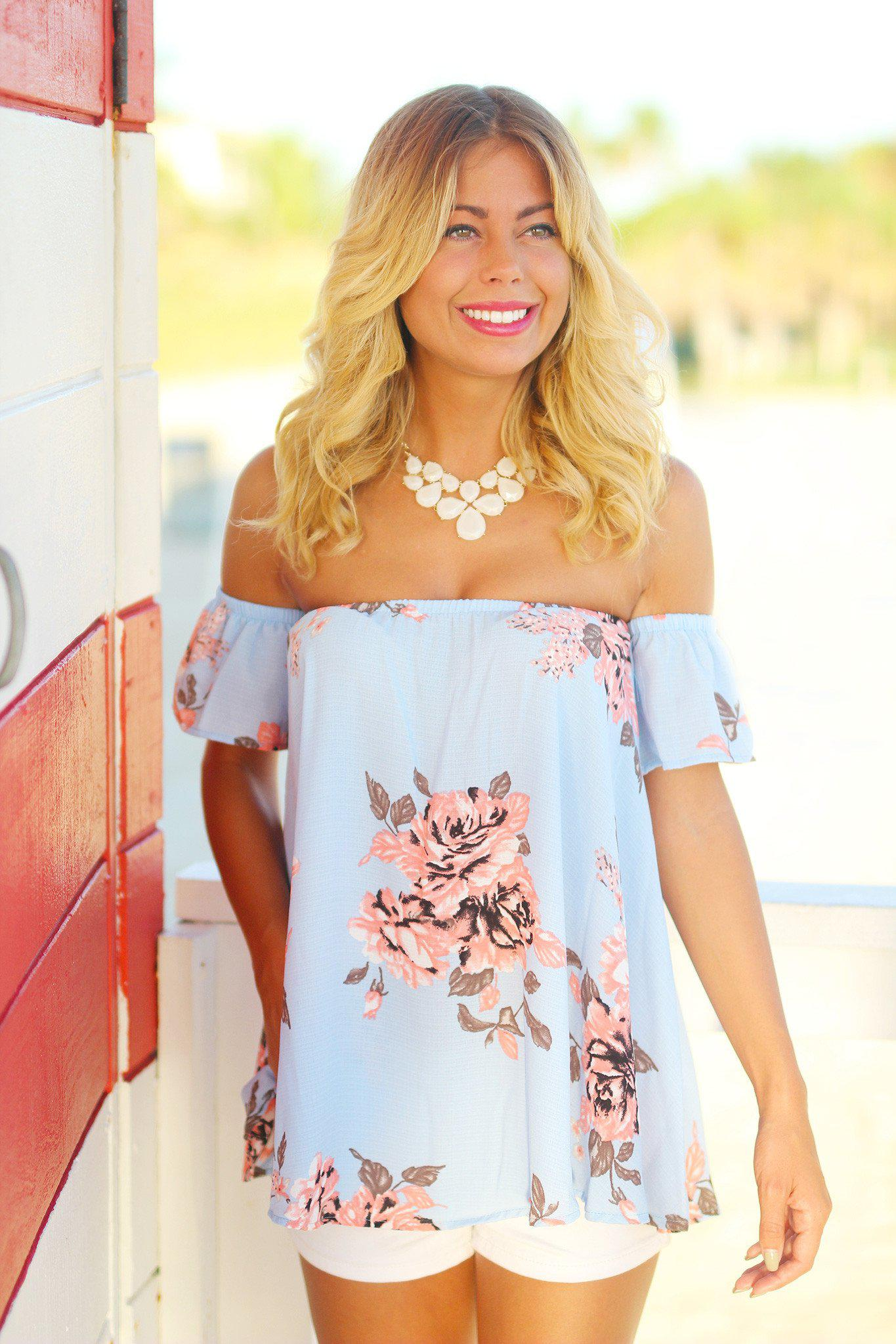 Periwinkle Off Shoulder Top