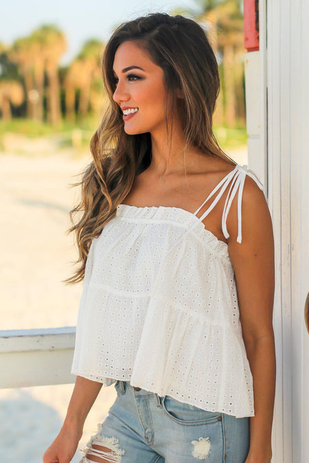 Off White Cropped Babydoll Top