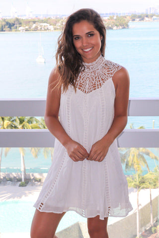 Off White Short Dress with Crochet Detail