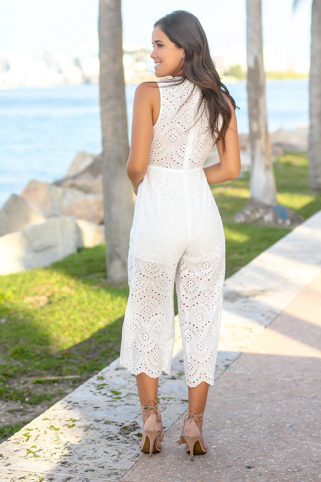 Off White Embroidered Jumpsuit