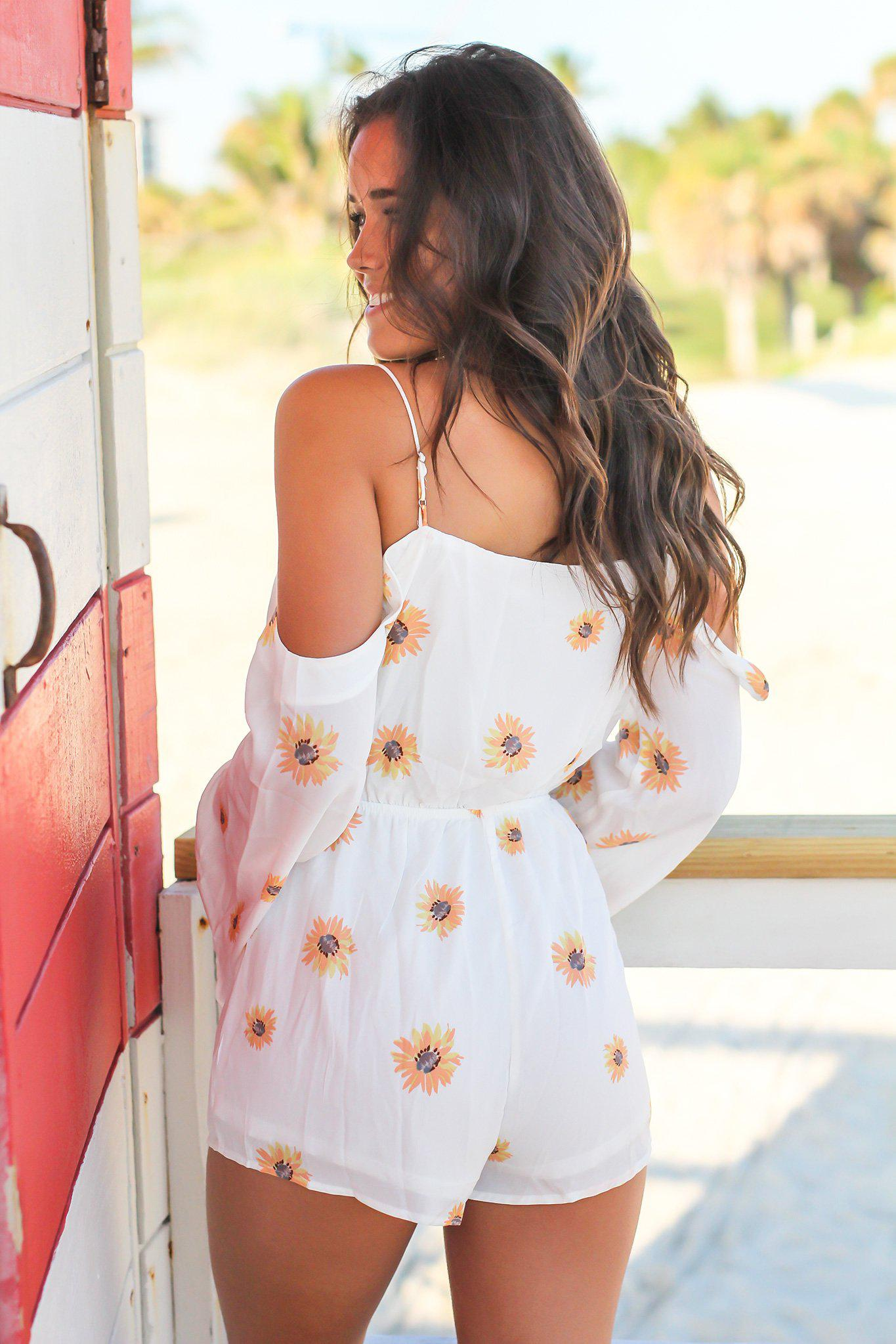 Off White Floral Cold Shoulder Romper