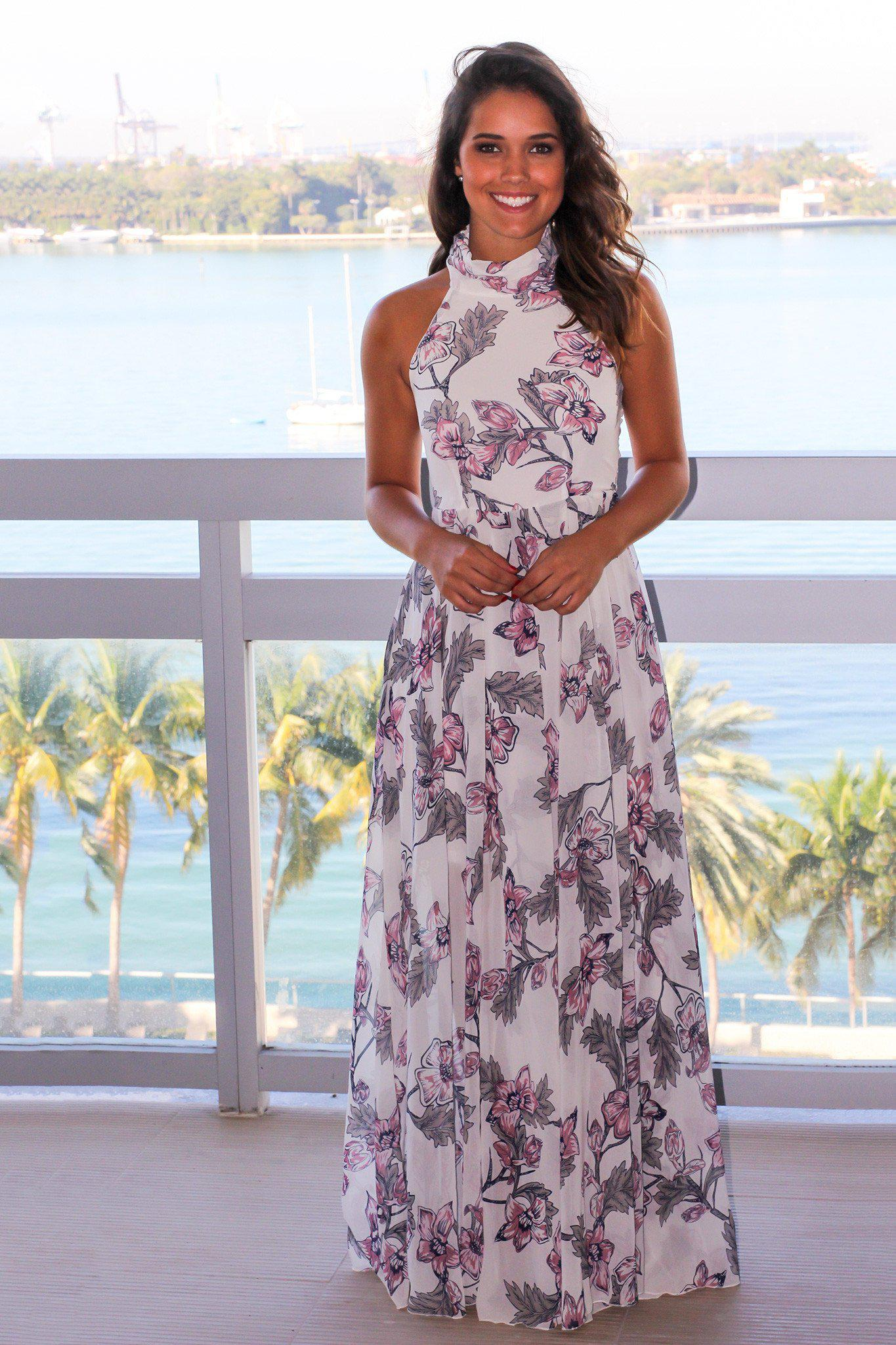 c6112c614417 Off White Floral Halter Neck Maxi Dress | Maxi Dresses – Saved by the Dress