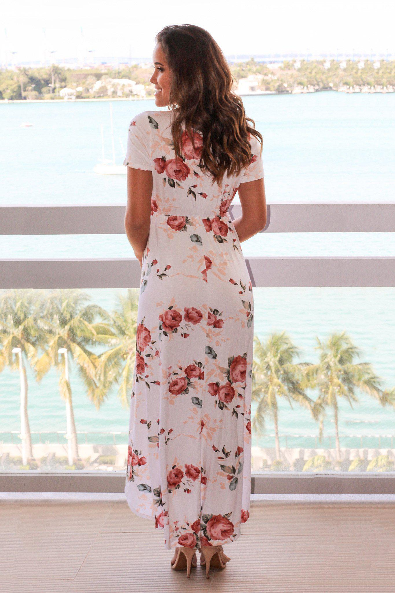 Off White Floral High Low Dress