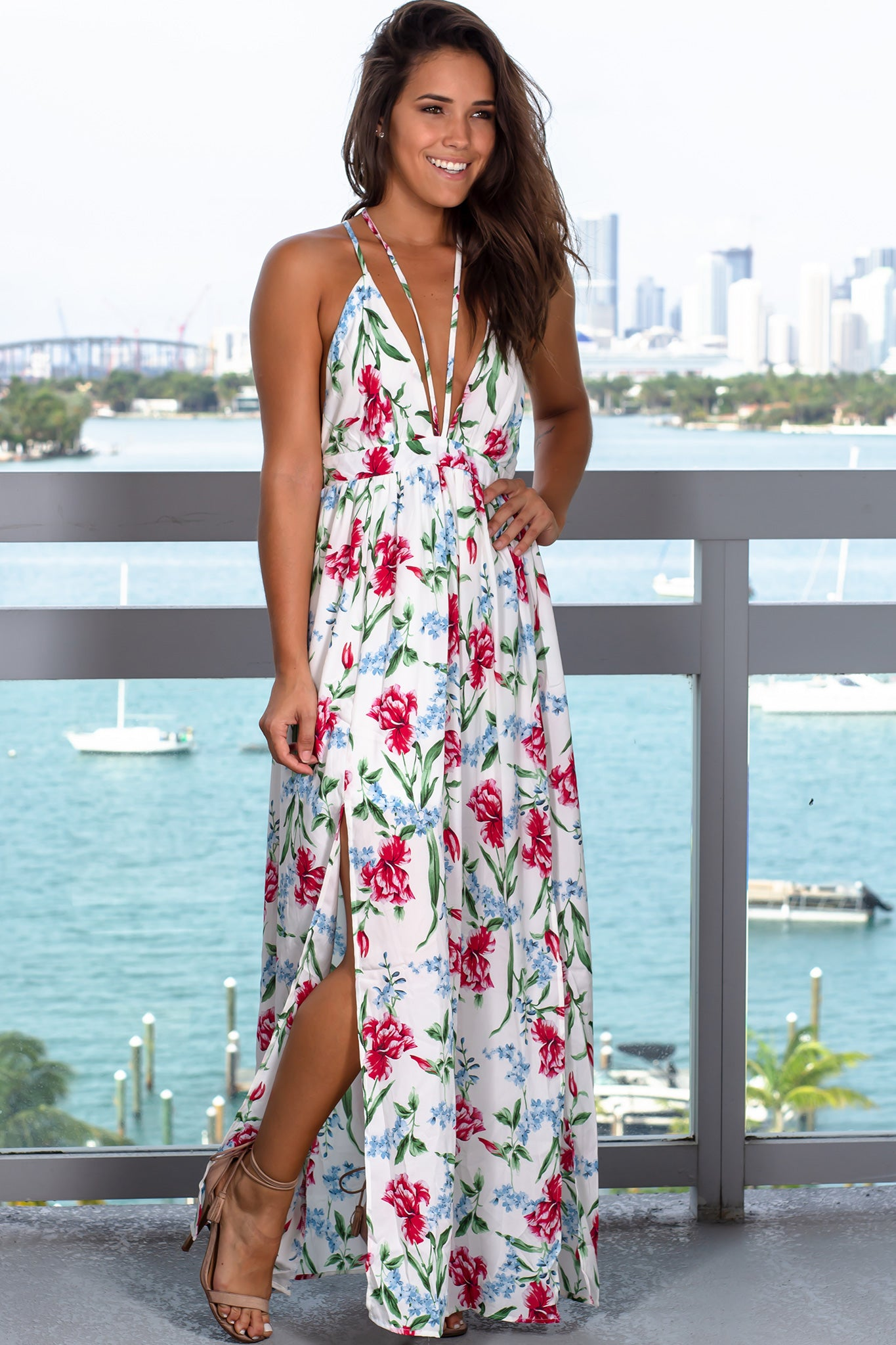 f0ab9a250b1 Off White Floral Maxi Dress with Criss Cross Back