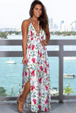 Off White Floral Maxi Dress with Criss Cross Back