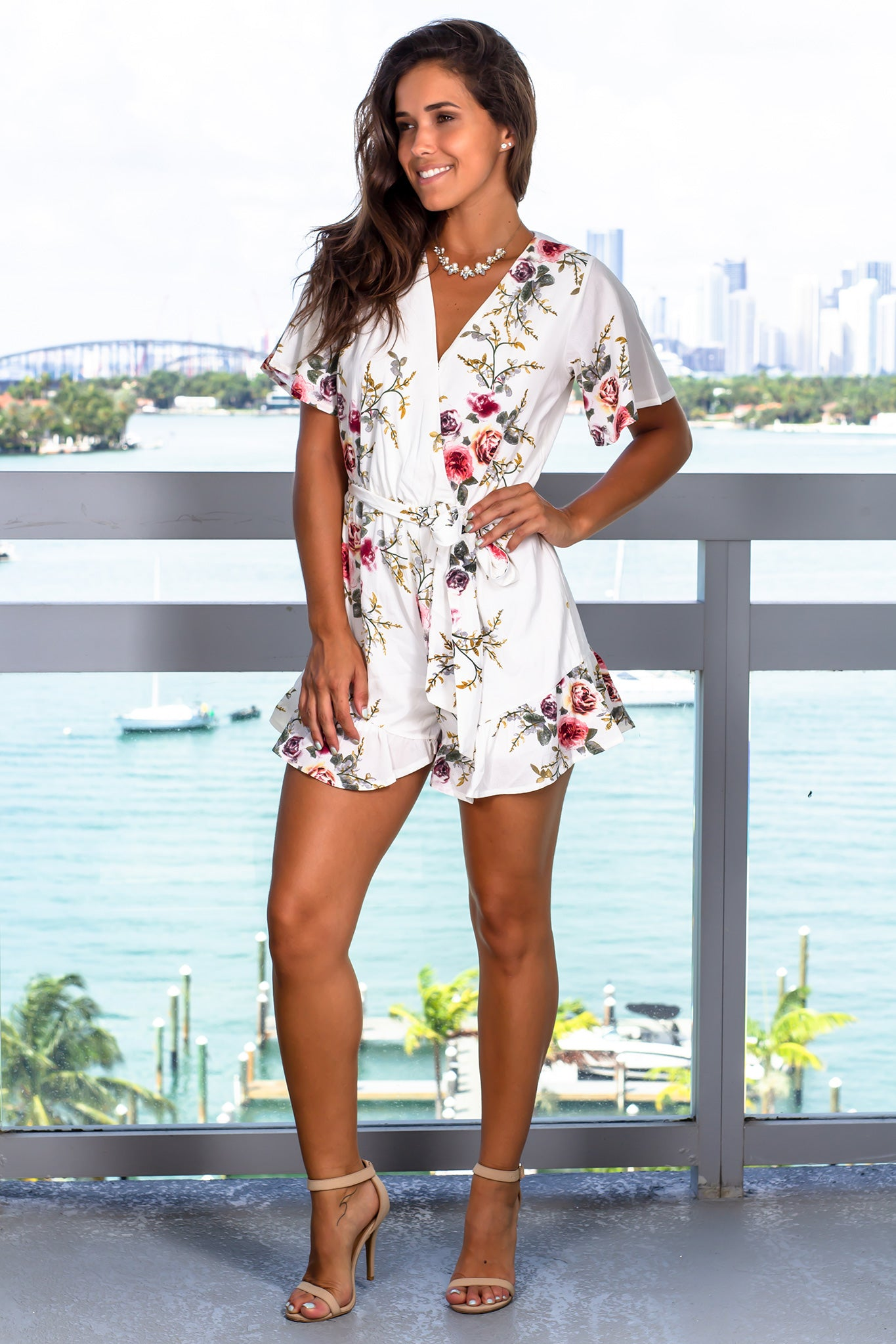 Off White Floral Romper with Sleeves
