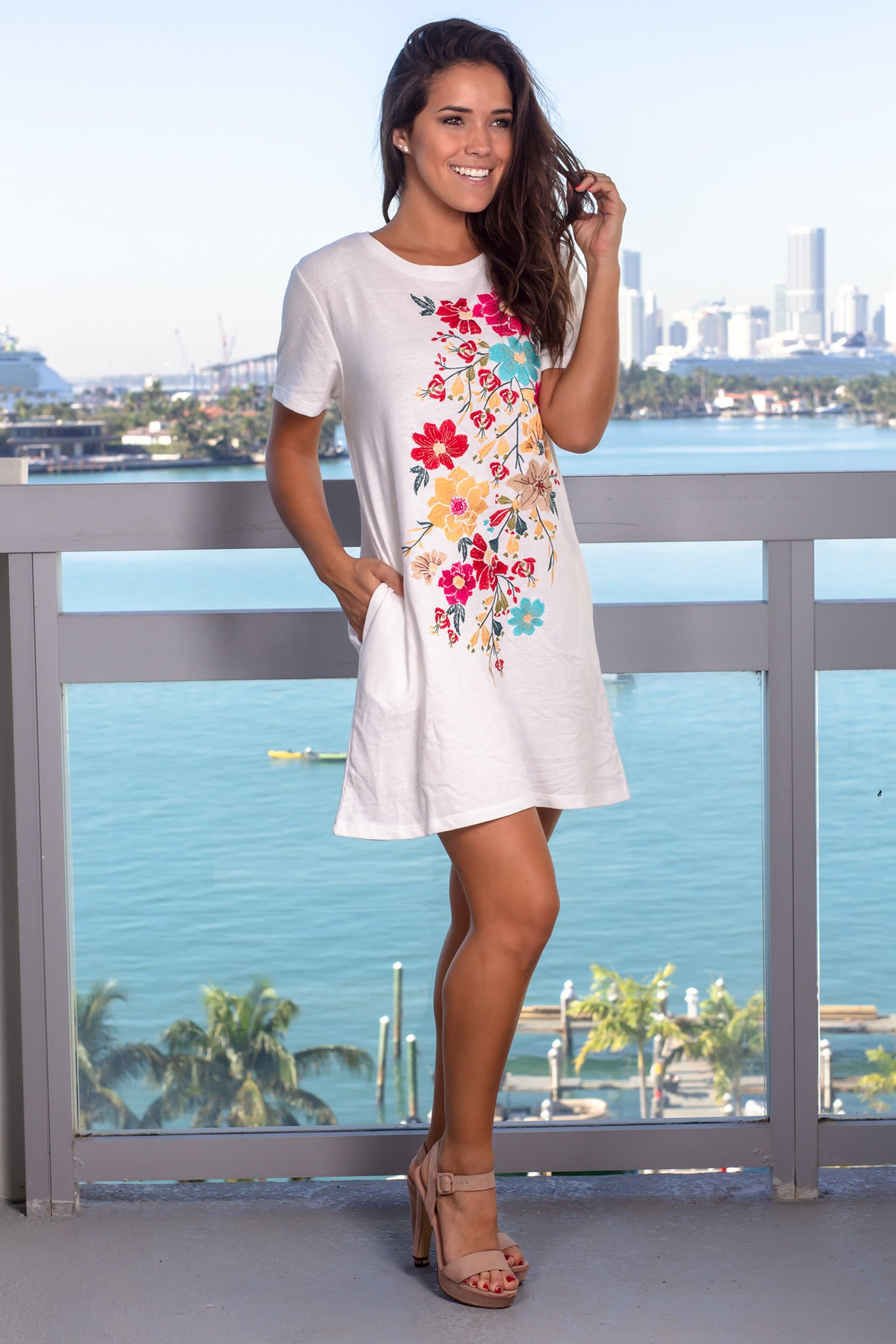 Off White Floral Short Dress with Pockets