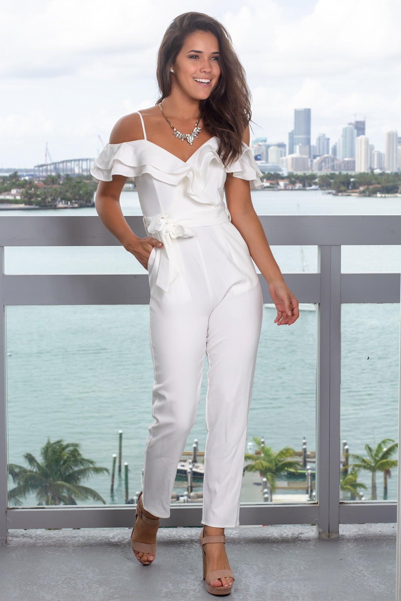 Off White Jumpsuit with Ruffled Top