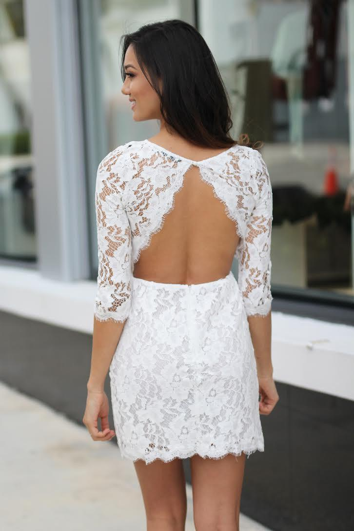 Off-White Lace Short Dress with Pockets