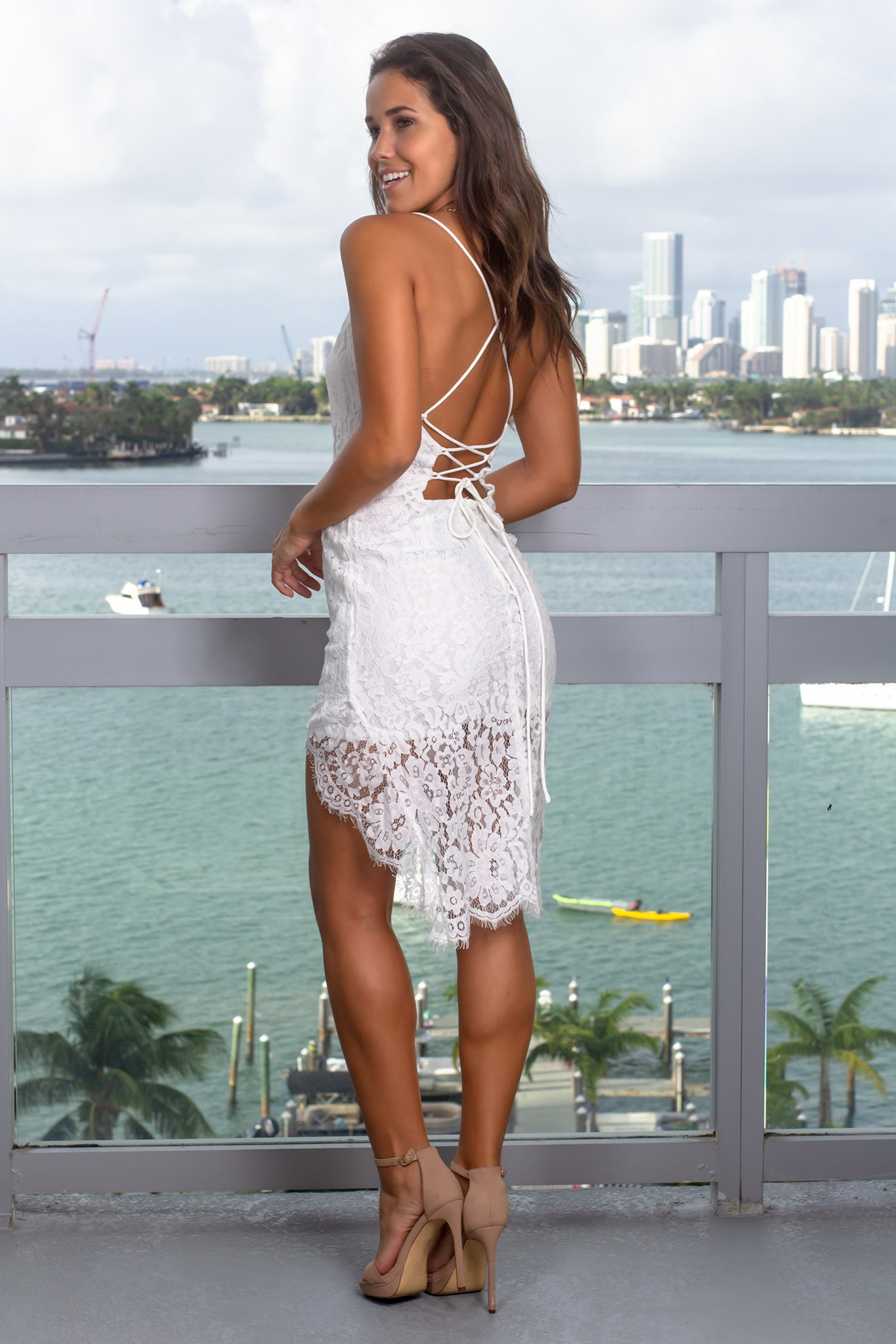 Off White Lace Short Dress with Strappy Back