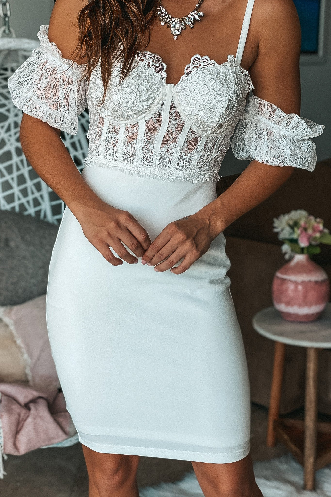 Off White Lace Top Short Dress