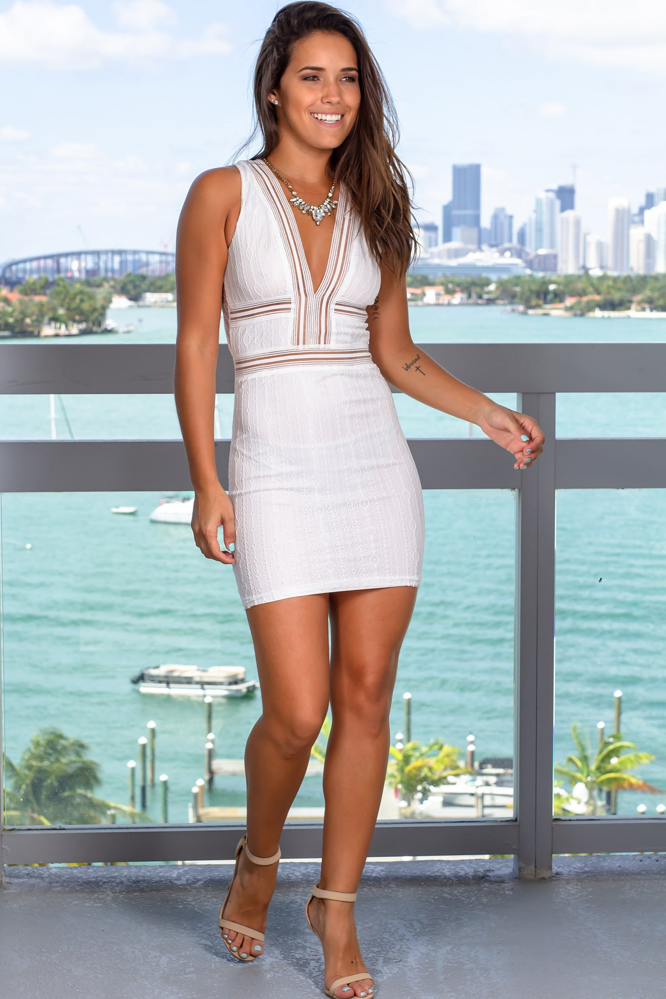 Off White Lace V-Neck Short Dress