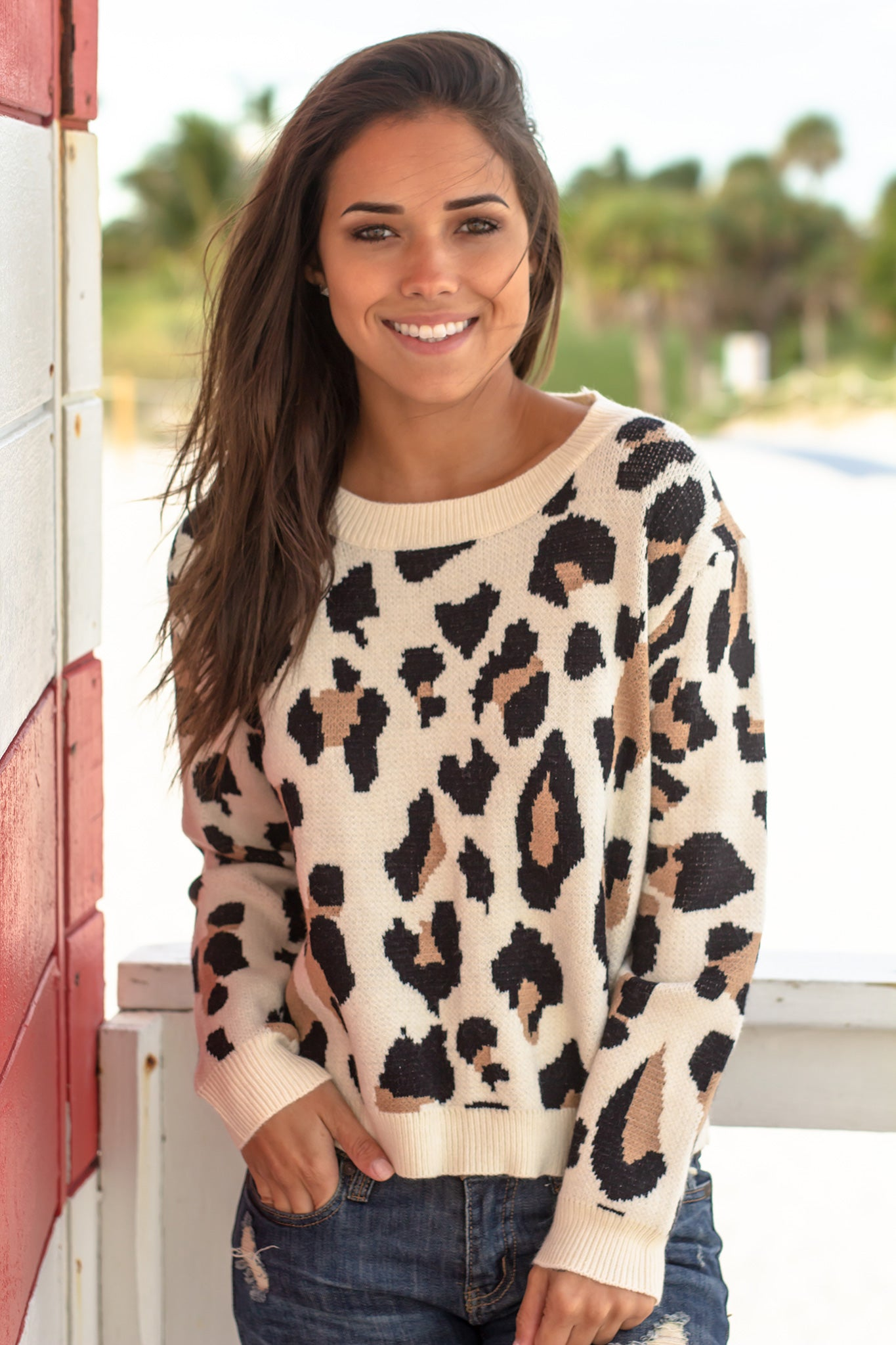 Off White Leopard Print Sweater