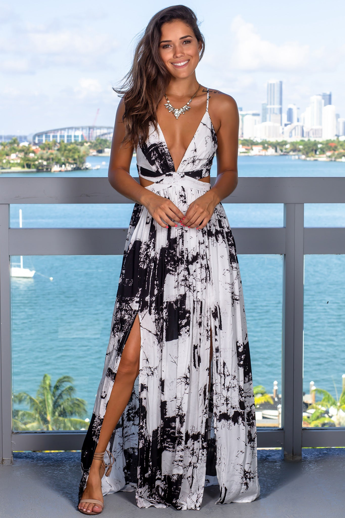 Off White Marble Maxi Dress with Criss Cross Back
