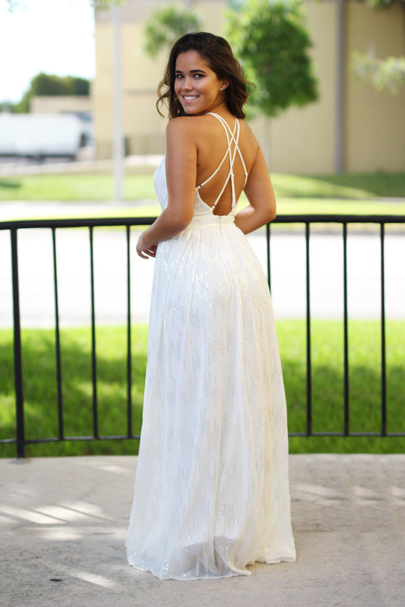 off white open back dress
