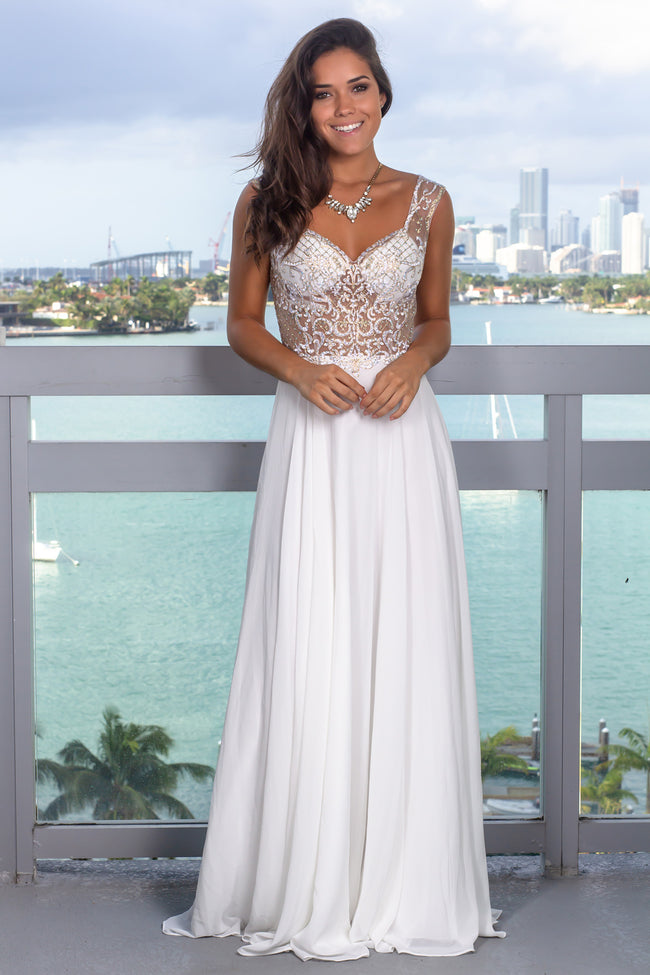Off White Maxi Dress with Jewel Embroidered Top