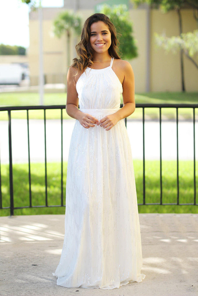 off white maxi dress with sequins