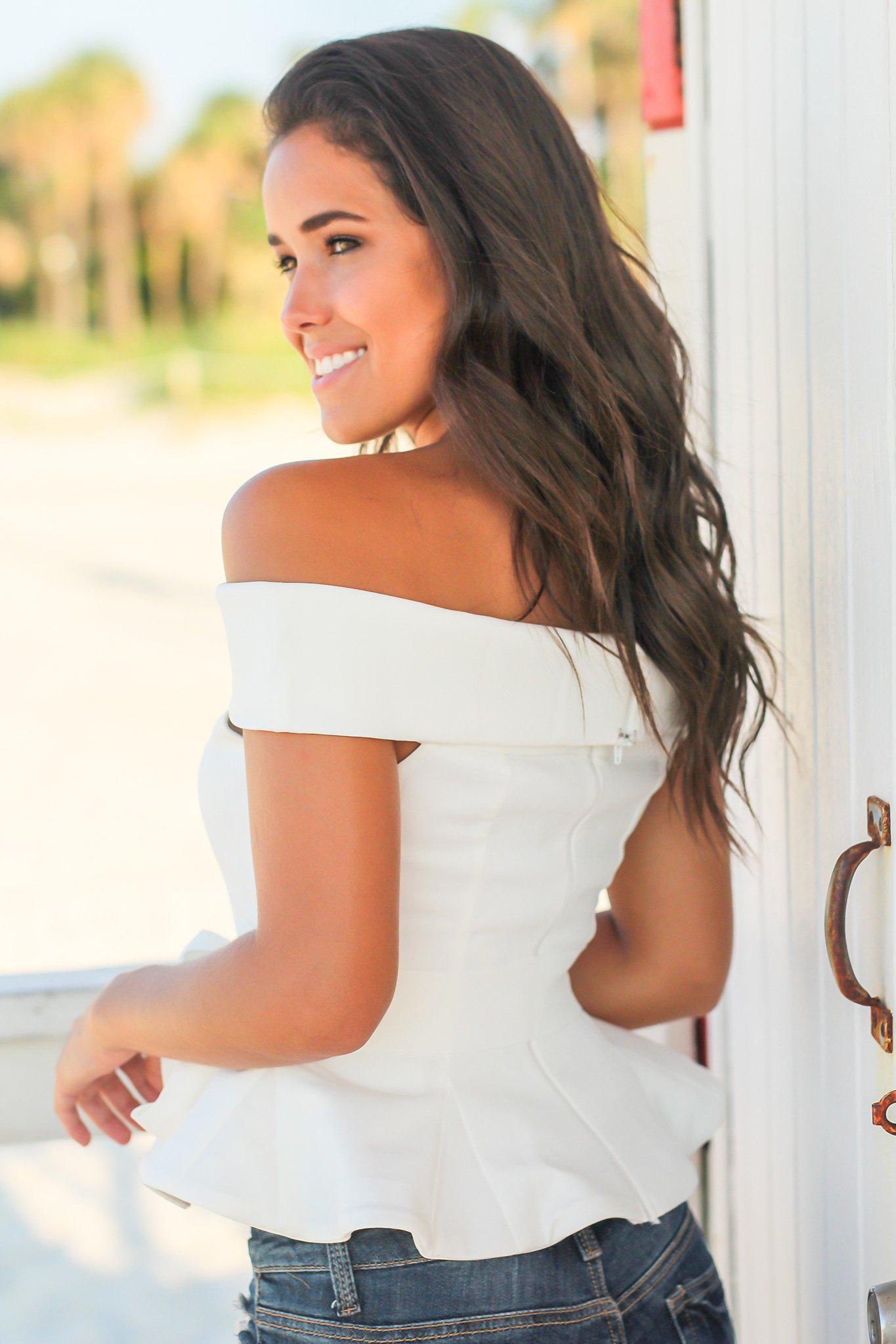 Off White Off Shoulder Peplum Top