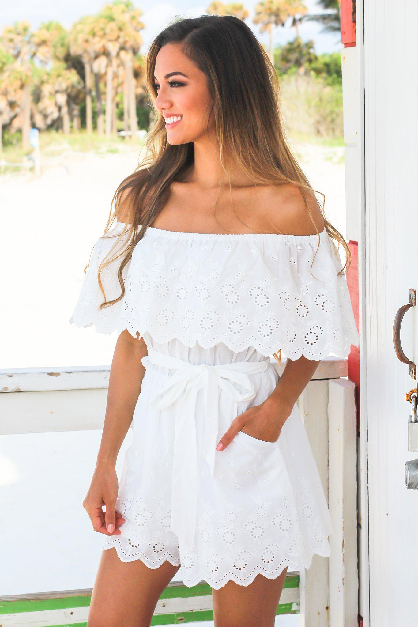 093bd773548 Off White Off Shoulder Romper