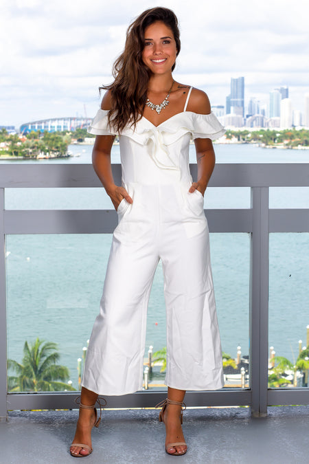 Off White Off Shoulder Ruffle Jumpsuit